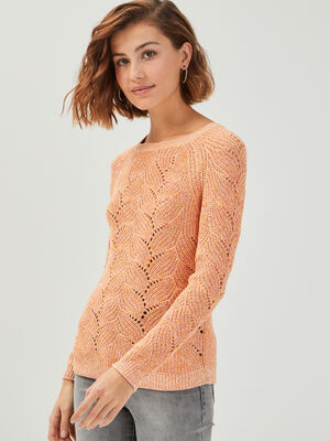 Pull col rond details ajoures orange corail femme