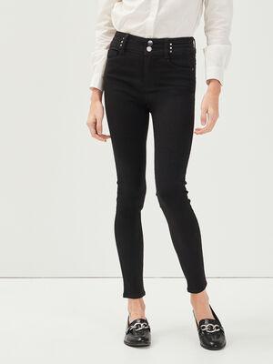 Jeans skinny details rivets denim noir femme