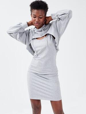 Robe sweat droite a capuche gris fonce femme