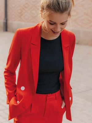 Veste blazer boutonnee lyocell rouge femme