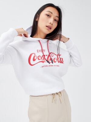 Sweat a capuche Coca Cola ecru femme