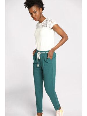 Pantalon droit ceinture bleu femme