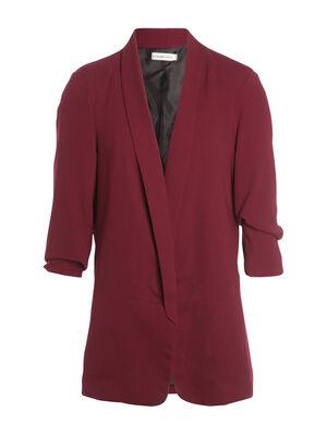 Veste blazer droite col chale violet fonce femme