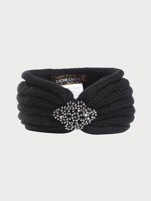 Bandeau tricote detail bijoux noir femme