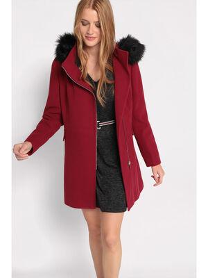Manteau cintre a capuche bordeaux femme