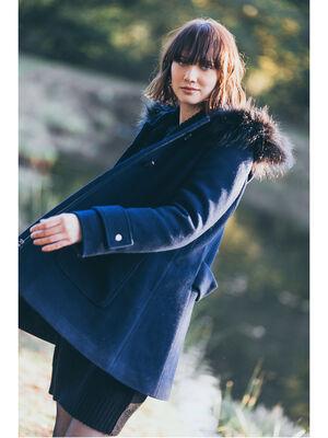 Duffle coat facon fourrure bleu marine femme
