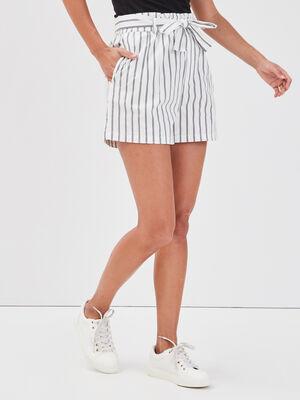 Short paperbag taille haute blanc femme
