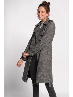 Manteau droit ceinture blanc femme