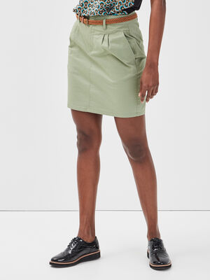 Jupe chino ceinturee vert femme
