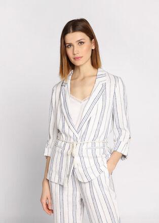 Veste blazer cintree ceinturee blanc femme