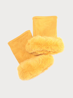 Mitaines avec fourrure jaune moutarde femme