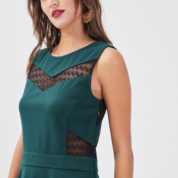 Robe évasée sans manches vert foncé femme