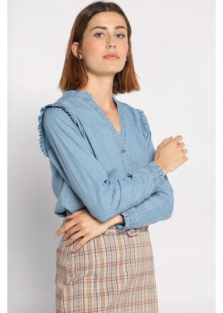 Chemise manches longues denim double stone femme