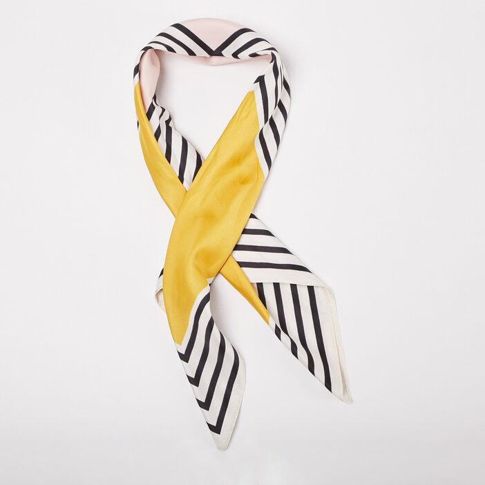 Foulard carré jaune moutarde femme