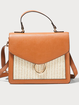 Sac cartable detail tresse orange fonce femme