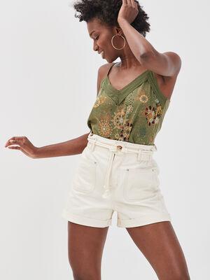 Short ample en jean ecru femme