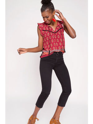 Pantacourt jean slim denim noir femme