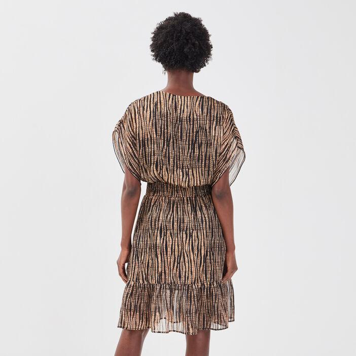 Robe évasée taille smockée noir femme