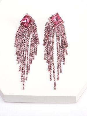 Boucles doreilles pendantes vieux rose femme