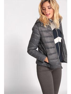 Doudoune cintree courte zippee gris fonce femme