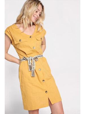 Robe chemise ceinturee jaune or femme