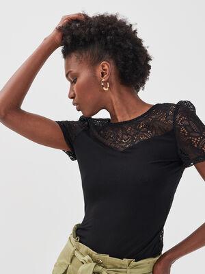 Body manches courtes dentelle noir femme
