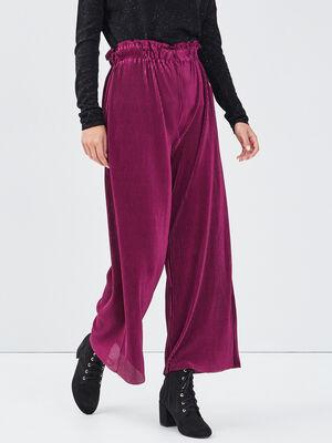 Pantalon ample plisse prune femme