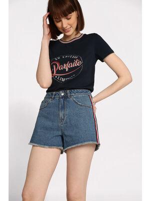 T shirt manches courtes lisere bleu marine femme