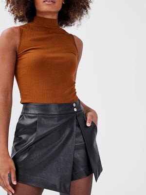 Jupe short droite noir femme