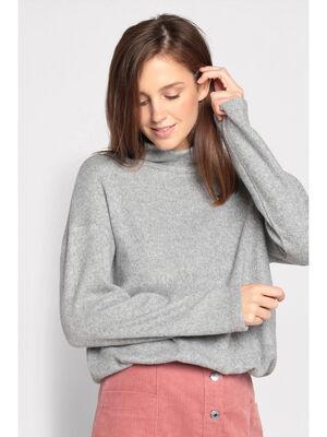 T shirt col roule gris clair femme