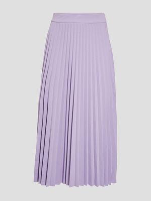 Jupe midi evasee plissee violet femme