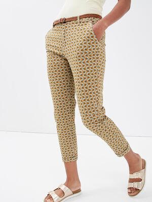 Pantalon chino ceinture marron femme