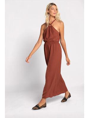 Robe longue droite fluide orange fonce femme