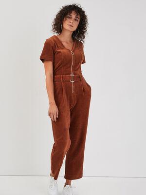 Combinaison pantalon velours marron cognac femme