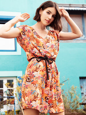 Robe droite ceinturee orange femme