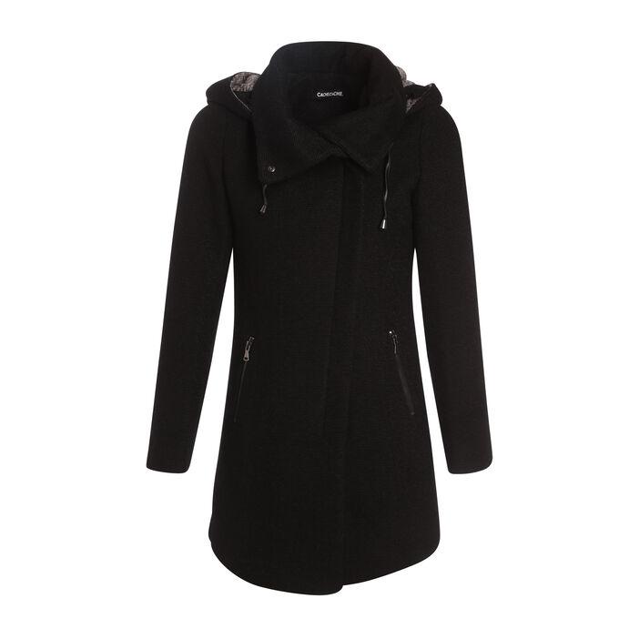 Manteau cintré asymétrique noir femme