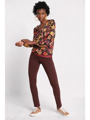 Pantalon slim 5 poches marron fonce femme
