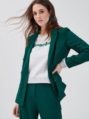 Veste droite double boutonnage vert fonce femme
