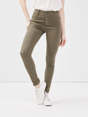 Jeans skinny vert kaki femme
