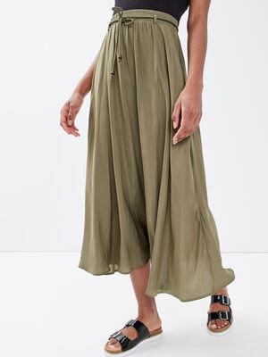 Jupe longue evasee vert kaki femme