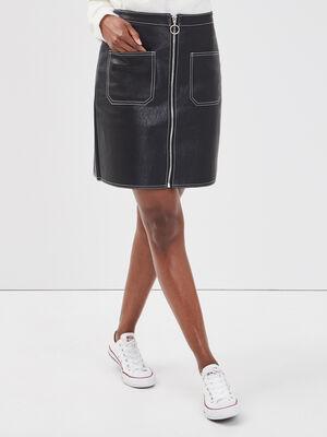 Jupe droite poches plaquees noir femme