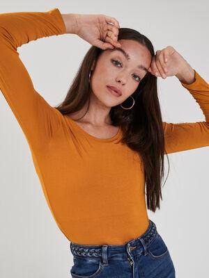 T shirt uni a manches longues jaune moutarde femme