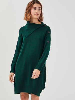 Robe ample tricot a boutons vert fonce femme