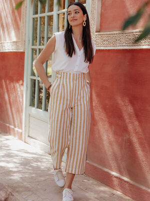 Pantalon large taille haute blanc femme