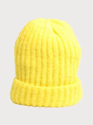 Bonnet a revers jaune fluo femme