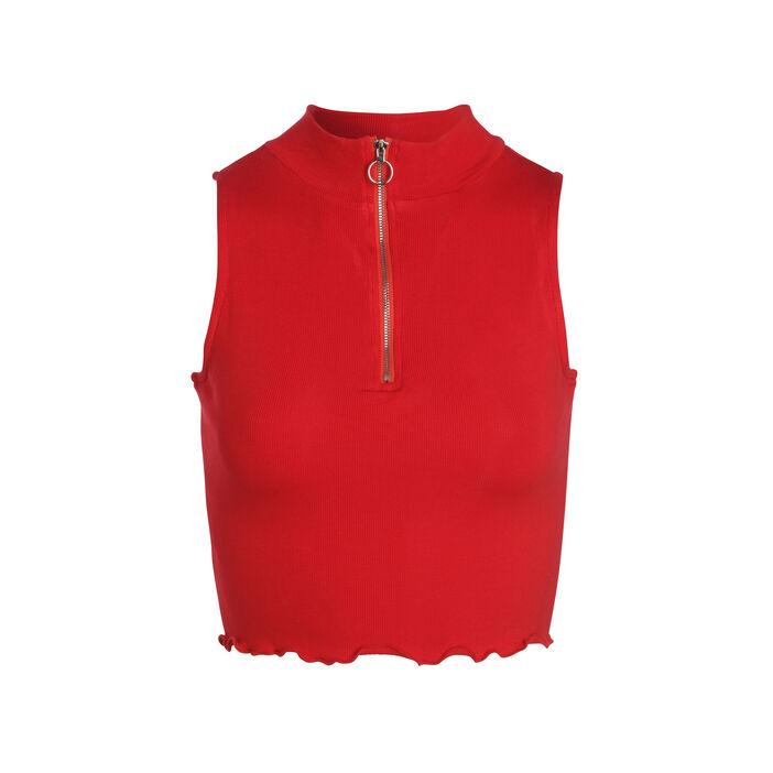dcdfc47ee874e Débardeur col zippé court rouge femme | Vib's