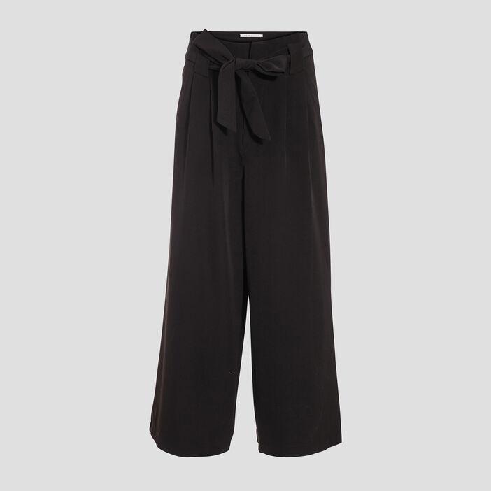 Pantalon large 7/8ème noir femme