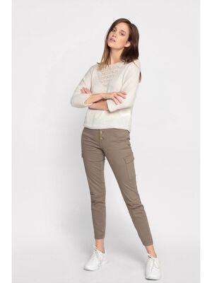 Jeans skinny poches vert kaki femme