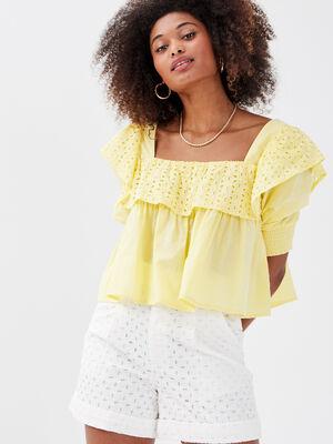 Blouse manches courtes jaune pastel femme