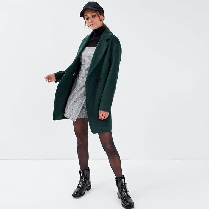 Manteau droit boutonné vert foncé femme